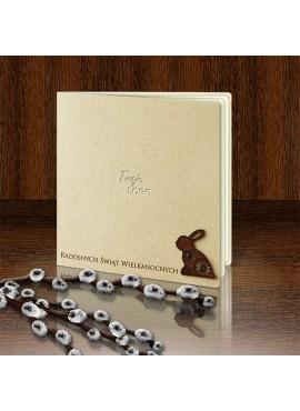Kartka Świąteczna Eco Design z Małą Drewnianą Aplikacją w Postaci Zajączka W352
