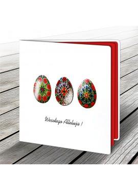 Kartka Świąteczna z Motywem Trzech Kolorowych Pisanek W540