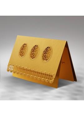 Kartka Świąteczna z Motywem Trzech Pisanek Wyciętych Laserowo W293
