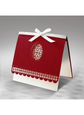 Kartka Świąteczna z Wyciętą Laserowo Pisanką oraz Szlaczkiem W311