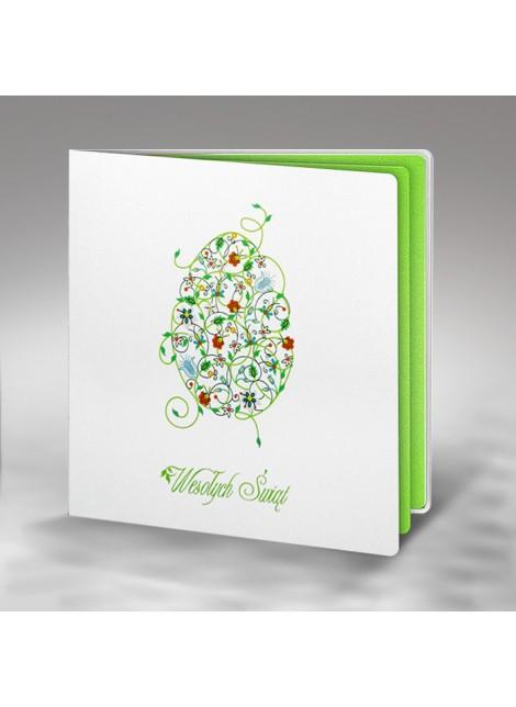 Kartka Świąteczna z Kolorową Pisanką w Stylu Kaszubskim W279
