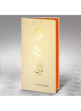 Kartka Świąteczna z Trzema Złotymi Pisankami W274
