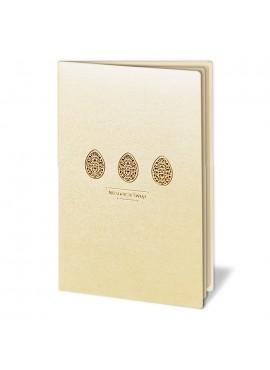 Kartka Świąteczna z Trzema Złotymi oraz Wyciętymi Laserowo Pisankami W263