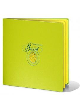 Kartka Świąteczna z Żółtą Pisanką Wyciętą Laserowo W258