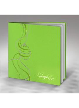 Kartka Świąteczna z Motywem Wielkanocnym w Kolorze Srebrnym i Zielonym W273