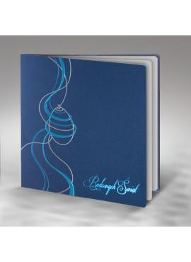 Kartka Świąteczna z Motywem Wielkanocnym w Kolorze Srebrnym i Niebieskim W272