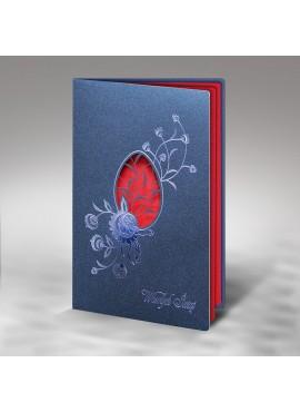 Kartka Świąteczna Pisanka Wycięta Laserowo z Niebieskim Wzorem W291