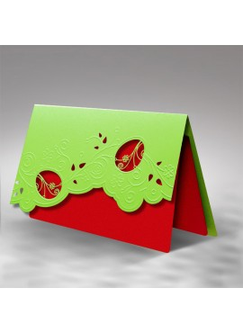Kartka Świąteczna z Wyciętymi Pisankami oraz Wytłoczonym Wzorem Wielkanocnym W296