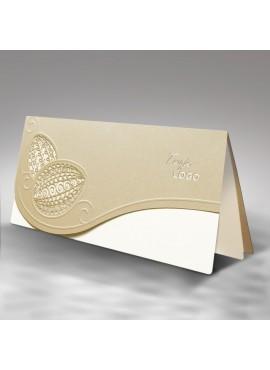 Kartka Świąteczna z Motywem Dwóch Pisanek Wyciętych Laserowo W321