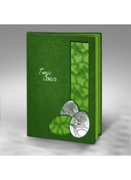 Kartka Świąteczna z Trzema Pisankami oraz Motywem Kwiatowym W315
