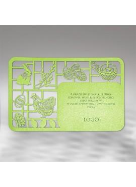 Kartka Świąteczna w Formie Wycinanki z Elementami Wielkanocnymi W331