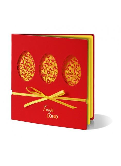 Kartka Świąteczna Trzy Pisanki z Motywem Kwiatowym Wycięte Laserowo W203