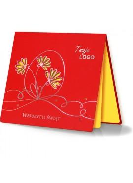 Kartka Świąteczna z Motywem Jajka oraz Wyciętymi Laserowo Kwiatkami W241