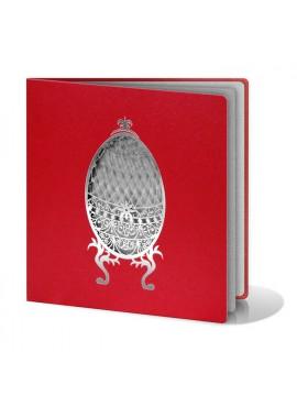Kartka Świąteczna z Dużą Pisanką Wyciętą Laserowo w Kolorze Srebrnym W186