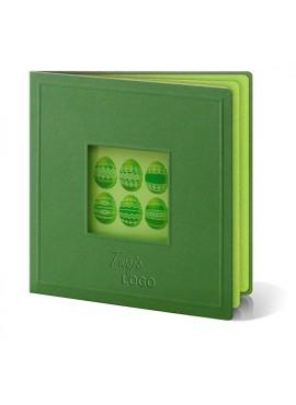 Kartka Świąteczna Wycięte Laserowo Okienko z Zielonymi Pisankami W238