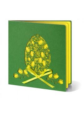Kartka Świąteczna Wycięta Laserowo Pisanka z Żółtą Kokardką W228