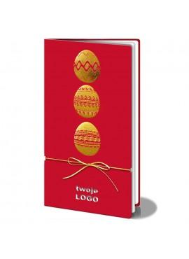 Kartka Świąteczna z Motywem Trzech Złotych Pisanek i Złotym Sznurkiem W121