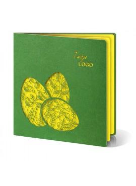 Kartka Świąteczna z Trzema Żółtymi Pisankami Wyciętymi Laserowo W229