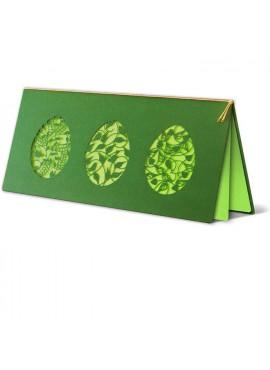 Kartka Świąteczna Trzy Pisanki z Motywem Kwiatowym Wycięte Laserowo W242