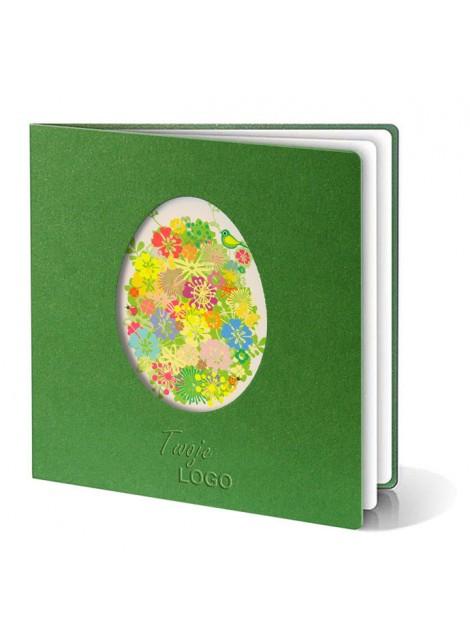 Kartka Świąteczna Wycięte Jajko z Motywem Kolorowych Kwiatów W237