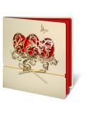Kartka Świąteczna z Motywem Trzech Wyciętych Pisanek oraz Złotym Sznurkiem W135