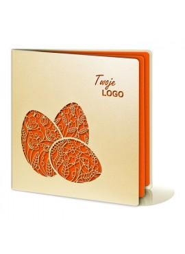 Kartka Świąteczna z Trzema Pomarańczowymi Pisankami Wyciętymi Laserowo W233
