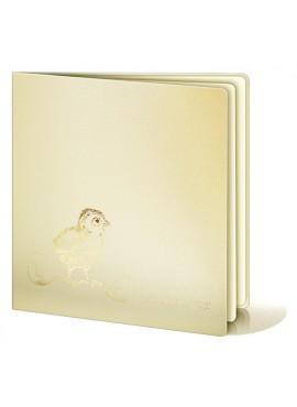 Kartka Świąteczna z Wyzłoconym Kurczaczkiem oraz Skorupkami Jajka W221
