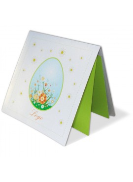 Kartka Świąteczna z Błękitną Pisanką w Kolorowe Kwiaty W200