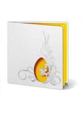Kartka Świąteczna z Wyciętym Jajkiem oraz Wysrebrzonymi Kwiatami W202