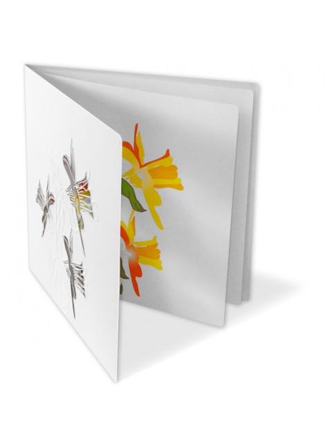 Kartka Świąteczna z Motywem Wytłoczonych oraz Wyciętych Laserowo Kwiatów W219