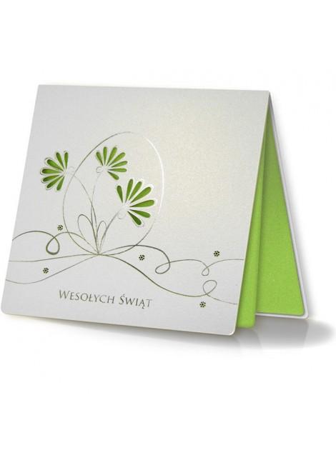 Kartka Świąteczna z Motywem Jajka oraz Wyciętymi Laserowo Kwiatkami W240