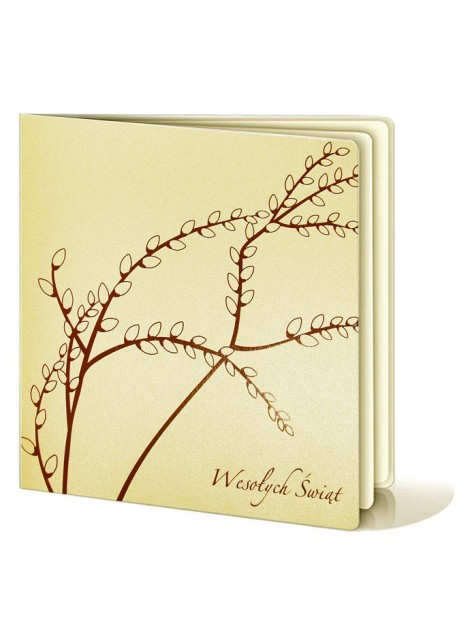 Kartka Świąteczna z Motywem Gałązek Bazi w Kolorze Brązowym W205