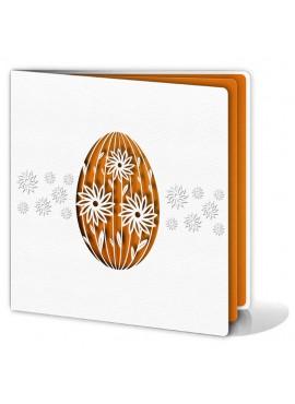 Kartka Świąteczna z Wyciętą Laserowo Pisanką w Kolorze Pomarańczowym W151