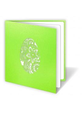 Kartka Świąteczna z Motywem Pisanki Wyciętej Laserowo W170