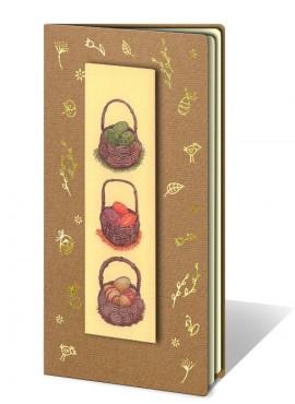 Kartka Świąteczna z Aplikacją Przedstawiającą Trzy Koszyczki z Pisankami W67