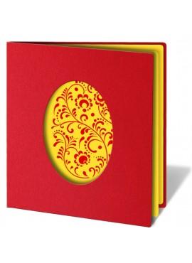 Kartka Świąteczna z Motywem Wyciętego Jajka Wielkanocnego W81
