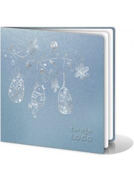 Kartka Świąteczna z Wysrebrzonym Motywem Wielkanocnym W115