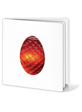 Kartka Świąteczna Motyw Czerwonej Pisanki ze Złotymi Wzorkami W163