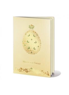 Kartka Świąteczna z Wyzłoconą Pisanką oraz Ornamentem Kwiatowym W236