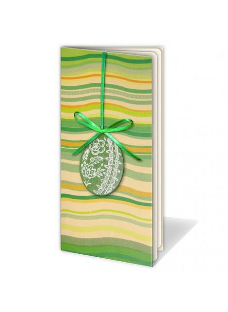 Kartka Świąteczna z Kolorowymi Falami i Aplikacją w Postaci Pisanki W130