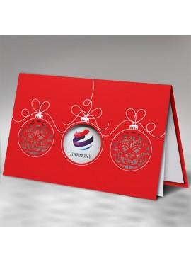 Kartka Świąteczna z Motywem Trzech Bombek FS833c