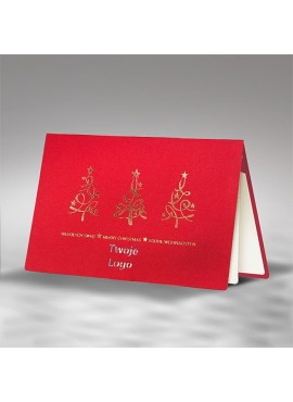 Kartka Świąteczna Trzy Złote Choinki FS870c