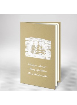 Kartka Świąteczna z Białym Nadrukiem Choinek FS820te
