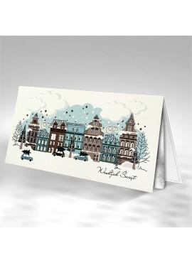 Kartka Świąteczna Miasteczko w Zimowej Scenerii FS821