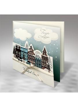 Kartka Świąteczna Miasteczko z Kokardą FS826