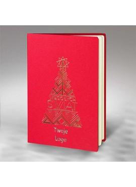 Kartka Świąteczna ze Złoconą Choinką FS873c