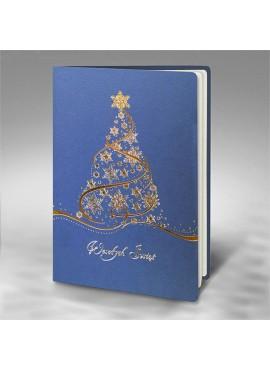 Kartka Świąteczna z Srebrno - Złotą Choinką FS897nk