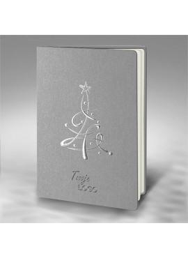 Kartka Świąteczna Ze Srebrną Choinką FS848s