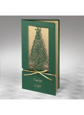 Kartka Świąteczna Choinka z Kokardą FS901zl