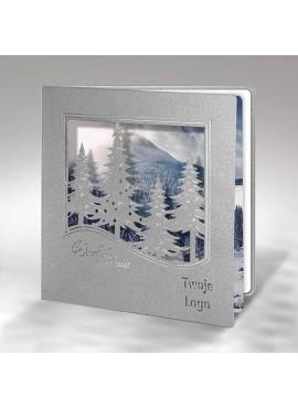 Kartka Świąteczna Krajobraz ze Srebrnymi Choinkami FS859s